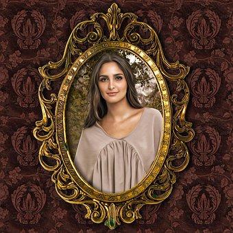 肖像画, 女性, ロマンチックな肖像画, フレーム, 金色の額縁, 幻想の肖像