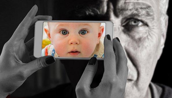 Smartphone, La Cara, Hombre, Edad, Bebé