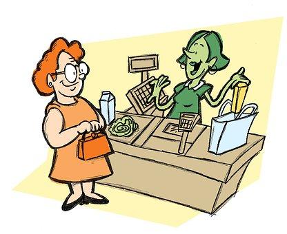 レジ係, 食料品, スーパーマーケット, ストア, 顧客, ショップ, カウンタ