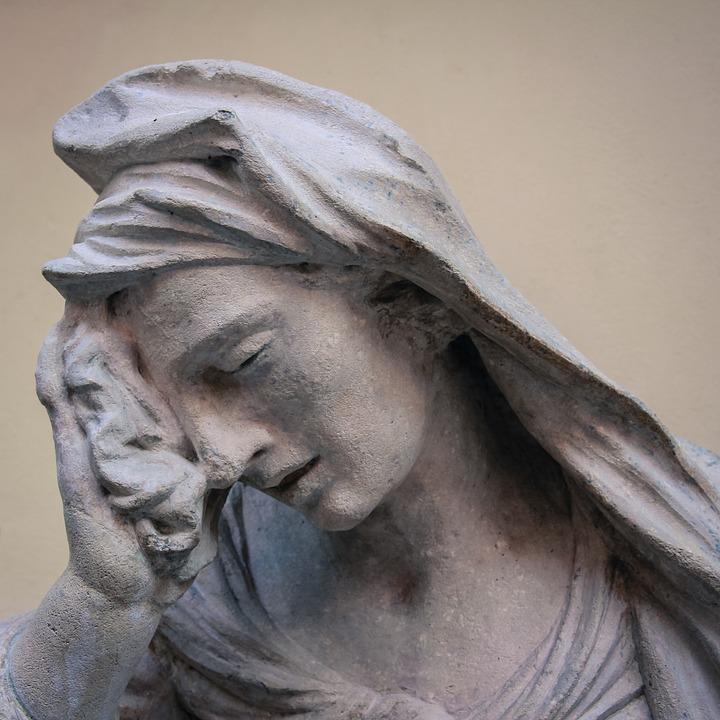 Facepalm, La Statue De, Gris, Tristesse, Femme