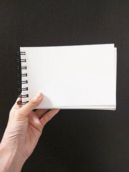 手, ノート, メモ, 飛行機, スケッチブック, 白, 紙
