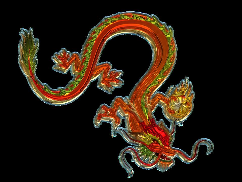 Дракон, Искусство, Стекла, Металлизатор, Китай, Фигура