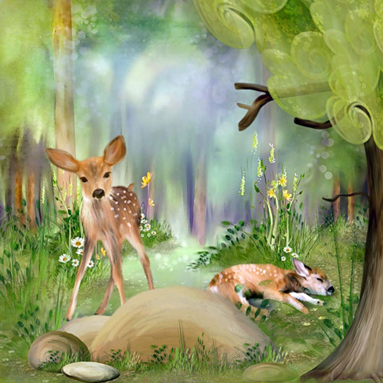 Рисунок оленей в лесу