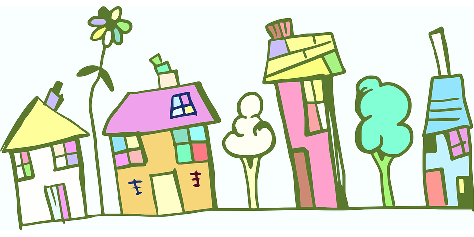 Doodle, Street, Cartoon, Village, Homes, Houses