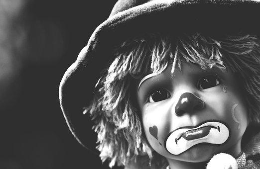 Doll, Clown, Sad, Black And White, Sweet