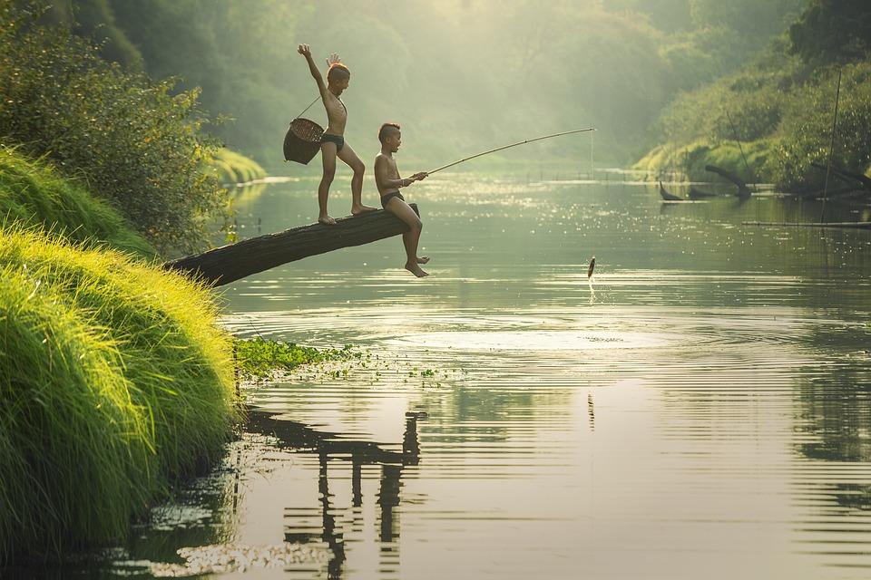Asia, Ragazzi, Cambogia, Bambini, Di Pesce, Pescatore
