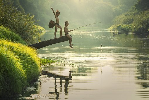 Asia, Boys, Cambodia, Children, Fish