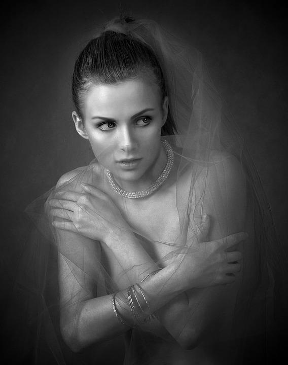 Girl tulle portrait hands female