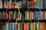 silhouette, head, bookshelf