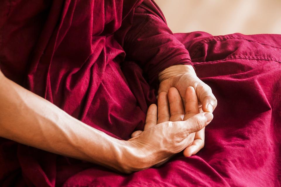 Meditación, Meditando, Manos, Budismo, Theravada