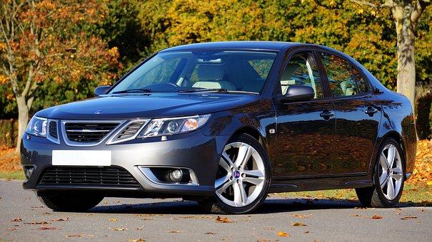 Car, Saab, Automobile, Reflection, Auto