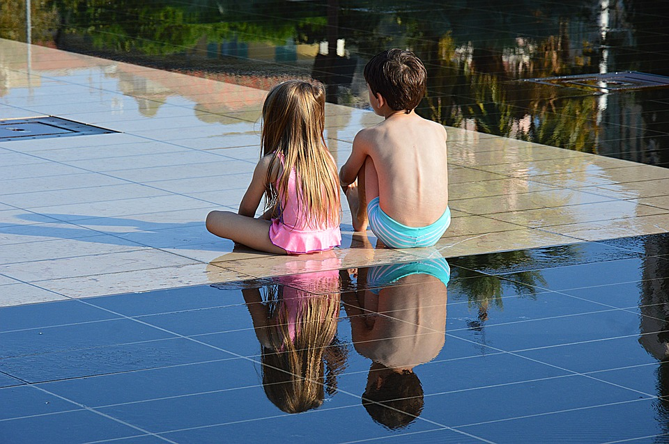 Children, Water Mirror, Nice, Sides Of Blue
