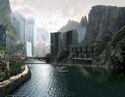 Town Mountains River Futuristic Paint