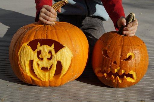 Bat, Halloween, Pumpkin, Pumpkin Ghost