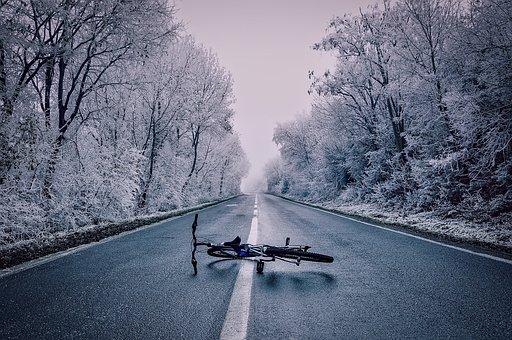 Paisagem, Neve, Gelo, Geada, Bicicleta