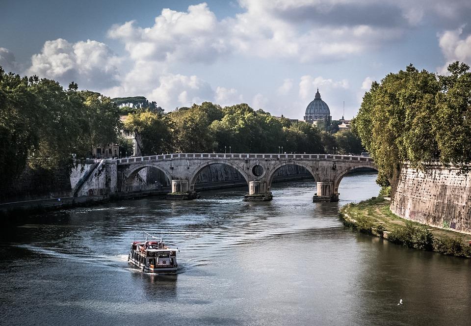 Rome, Bridge, View, Italy, Landmark, Architecture