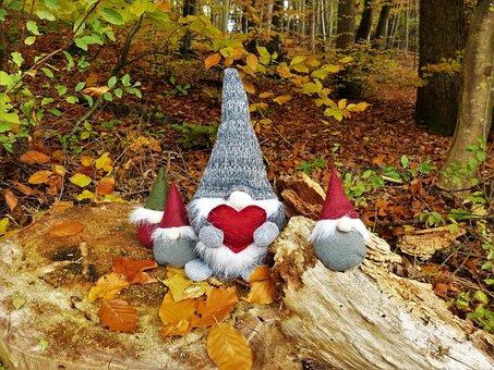 Dwarfs, Gnome, Forest, Autumn, Imp