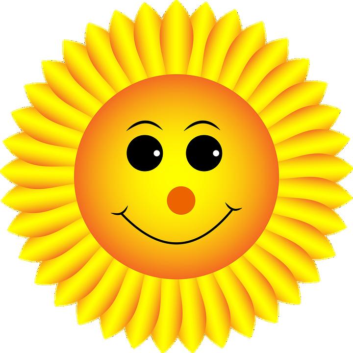 向日葵, 笑脸, 脸, 表情符号, 图释, 情感, 花, 可爱, 植物, 儿童