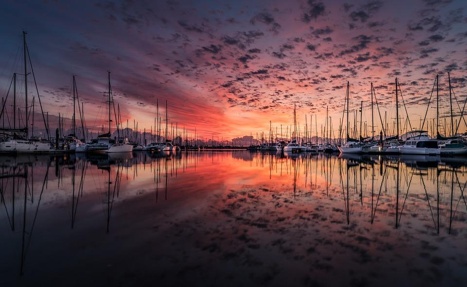 Boten, Poort, Sunrise, Zonsondergang, Reflectie, Zee