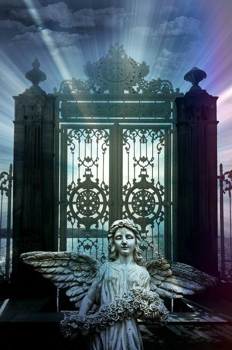 天使, 目標, 天国の門, クリスマス, クリスマス カード, フィギュア, 光線, 日光, 空, 墓地