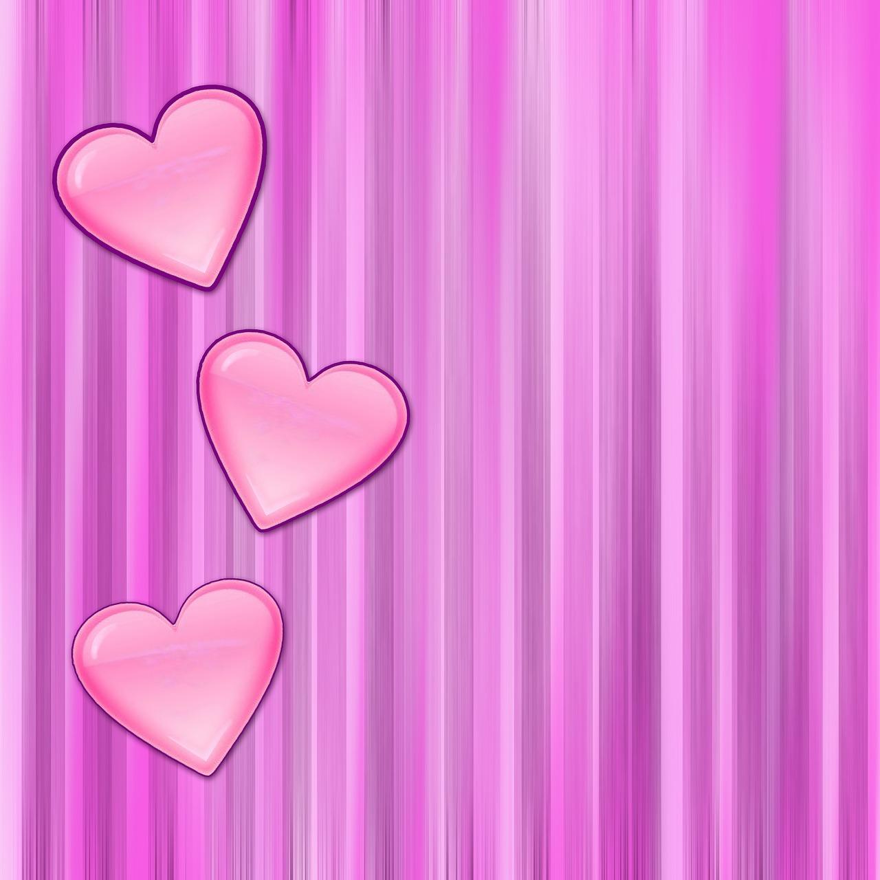 Картинка сердечки розовые, сад