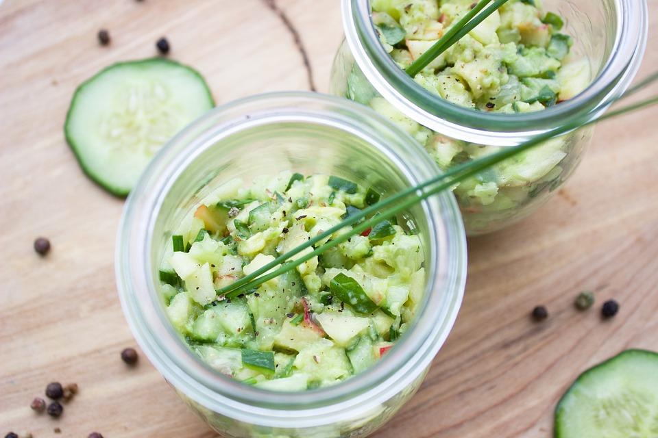 Cucumber, Avocado, Apple, Tartar, Glass, Chives, Vegan