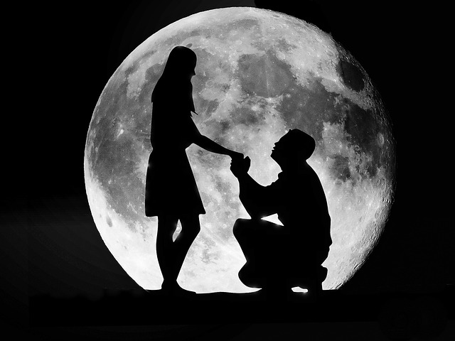 Love couple moon free image on pixabay - Black and white love pictures ...