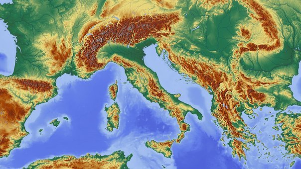 Italy, Alpine, Alpine Region, Map
