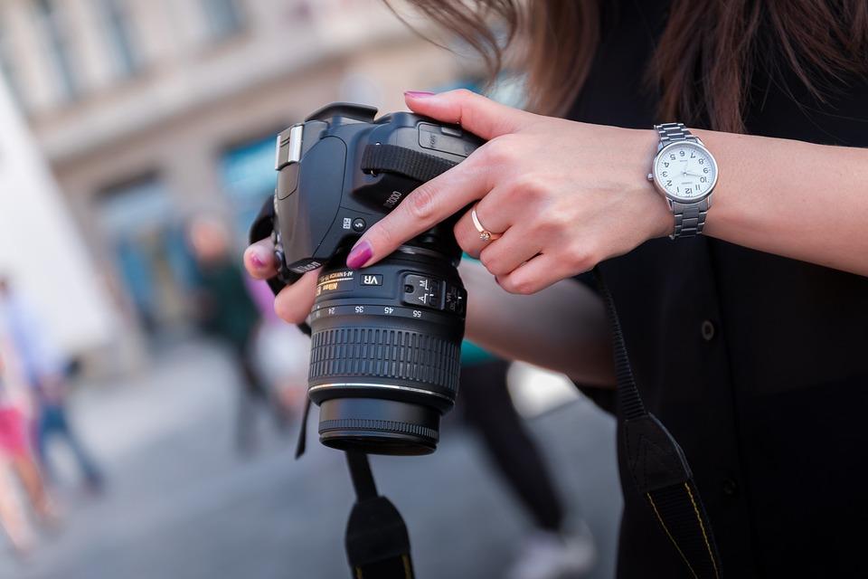 Photographer, Photo, City, Street, Hands, Holding, Dslr