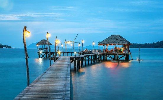 桟橋, タイ, 海, リゾート, 港, バンガロー, カリブ海, ビーチ