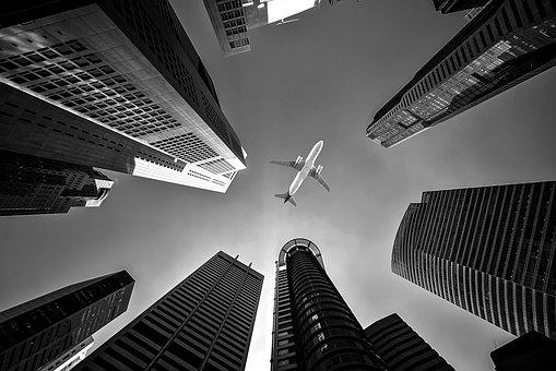 飛行機, 建物, 視点, 高層ビル, フライト, 空, 都市, 市, 航空会社