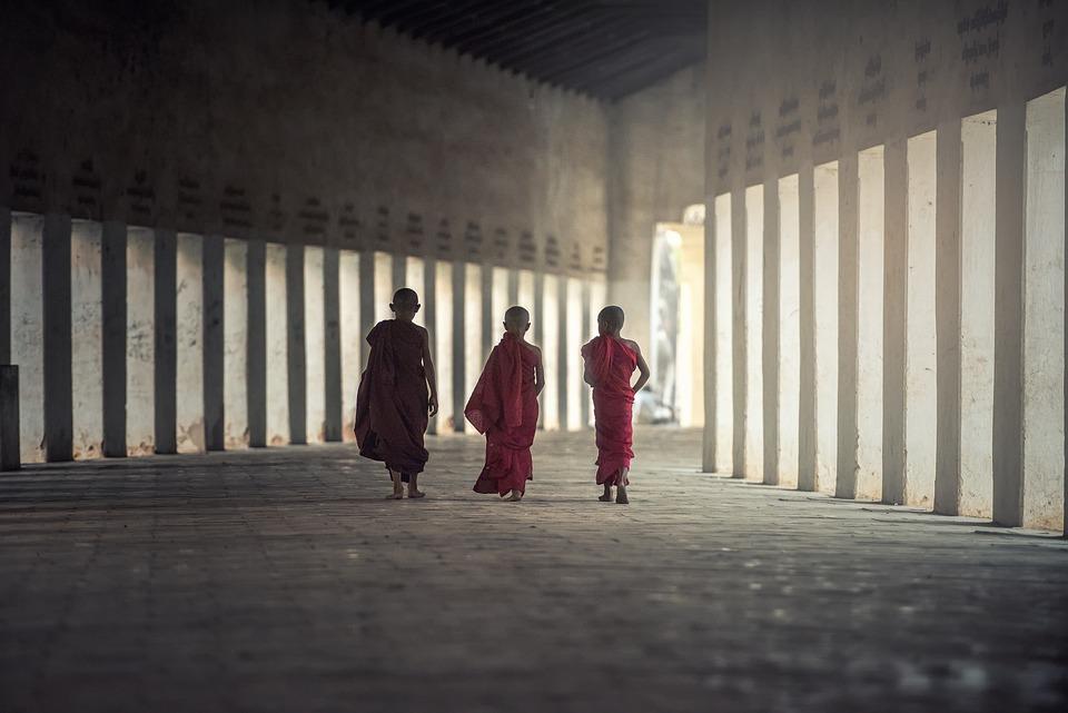 仏教, 修道士, 修道院, アジア, 少年たち, 仏教徒, 子供, 文化, ミャンマー, ビルマ, 人, 赤