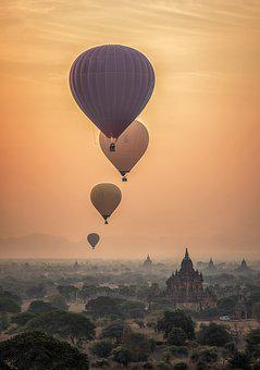 Hot Air Ballon, Burma, Myanmar, Temples