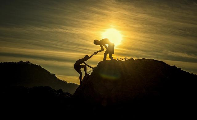 Sunset, Men, Silhouettes, Helping, Helping Hand