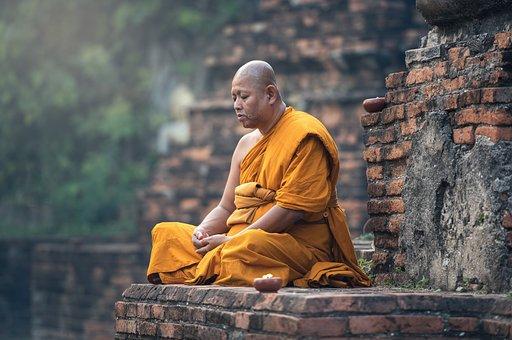 Buddhist Monk Sitting Meditation Zen