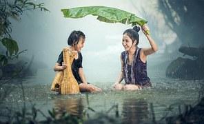 Woman, Young, Rain, Pond, Cambodia