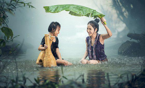 Woman, Young, Rain, Pond, Cambodia, Girl