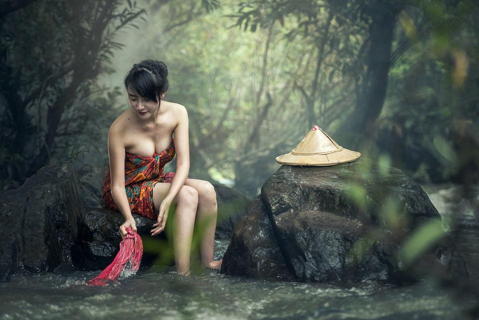 Asia, Donna, Vasca Da Bagno, Lavare I Vestiti, Cambogia