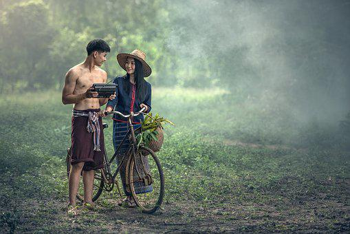 Adult, Agriculture, Bicycle, Asia