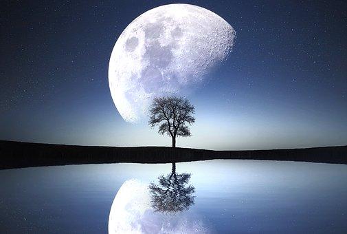 Lune, Nuit, Lac, Rivière, Ciel, Nature