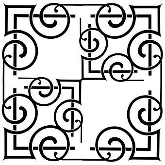 スクロール, ビンテージ, ミニマリスト, 黒 - 白, 装飾用の, パターン