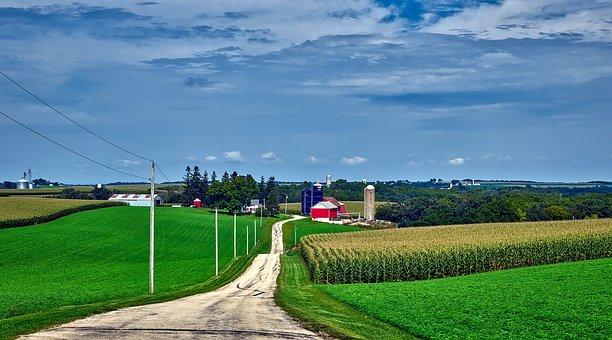 Wisconsin, Panorama, Farm, Sky, Clouds