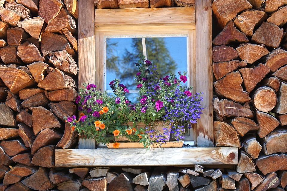 Holzstapel, Ikkuna, Varastossa, Polttopuut, Puu, Lämpö