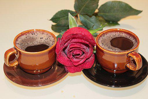 Rose, Coffee, Cups, Foam, Drink