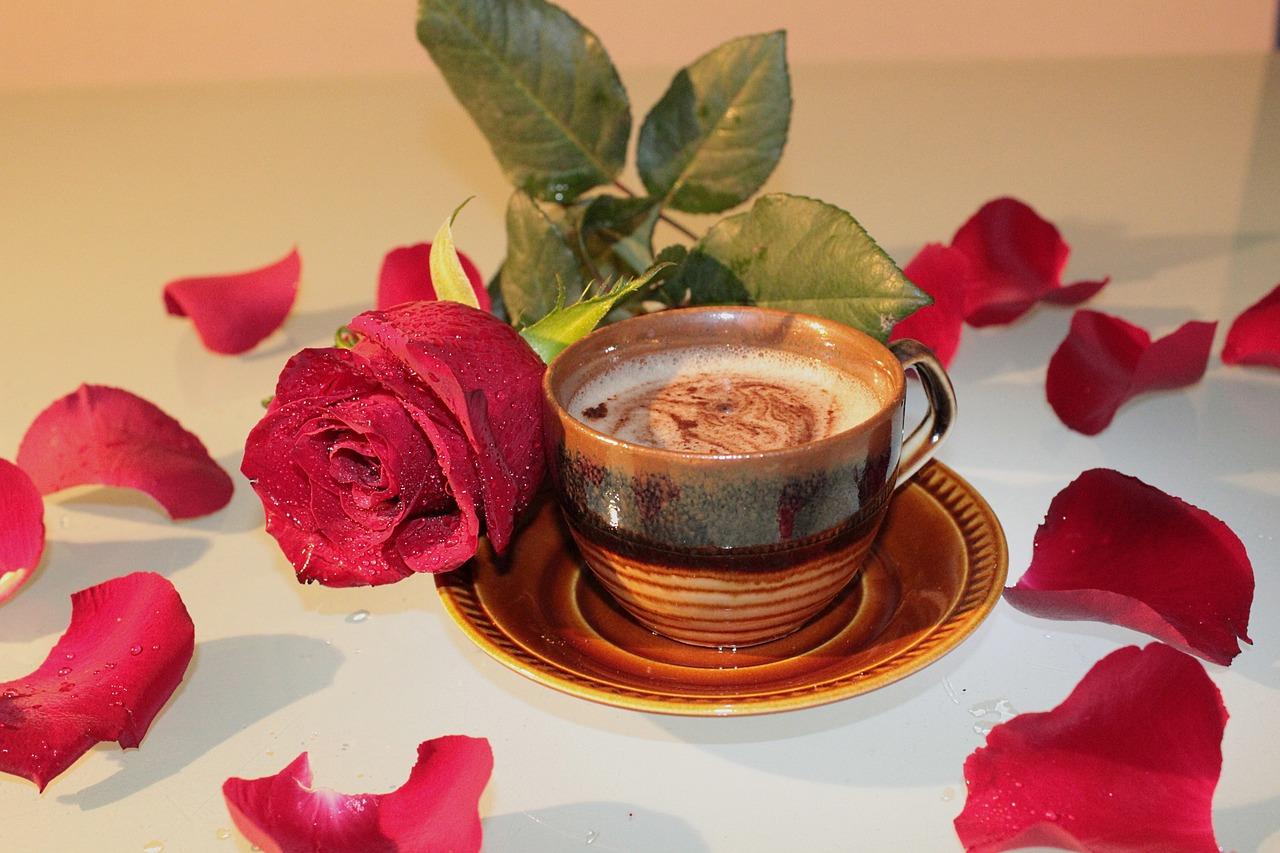 картинки кофе с розами этого глубокой стеклянной