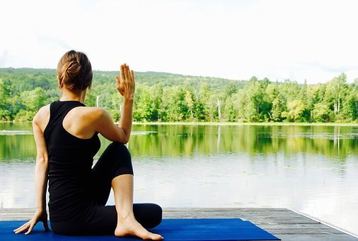 Yoga, Mujer, Naturaleza, Paisaje, Meditar
