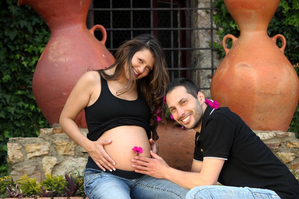 妊娠, 誕生, カップル, グルームズ, 夫, ロマンス, ロマンチックな, 愛, 結婚, 女性, 男