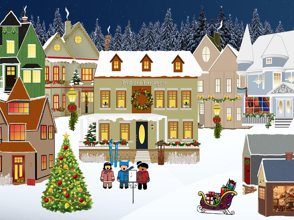 Free illustration: Christmas, Village, Light, Snow - Free Image on ...