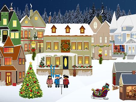 크리스마스, 마을, 빛, 눈, 윈도우, 트리, 하우스, 전나무, 겨울