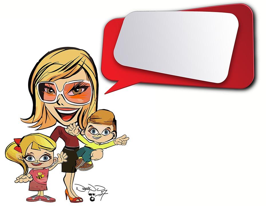 Illustrazione gratis cartone animato donna bambini